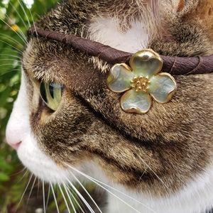 Signed 70's Trifari Blue Dogwood Flower Earrings